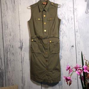 Tory Burch Sleeveless Belted Cargo Dress Sz 10 EUC